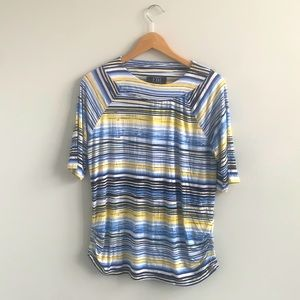 NWT FDJ Ruched Side Detail Stripped Top